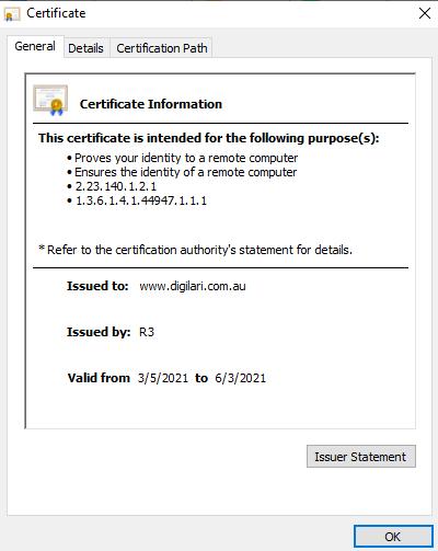 digilari ssl certificate details