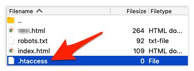 .htaccess file screenshot